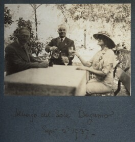 Albergo del Sole, Bergamo' (Philip Edward Morrell; Lady Ottoline Morrell and an unknown man), by Unknown photographer - NPG Ax144123