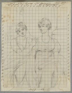 Sarah Lysons (née Carteret-Hardy) and Charlotte Price (née Carteret-Hardy), by Henry Bone, after  Sir Thomas Lawrence - NPG D17338