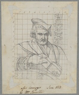 Unknown man, by Henry Bone, possibly after  Parmigianino (Girolamo Francesco Maria Mazzola) - NPG D17482