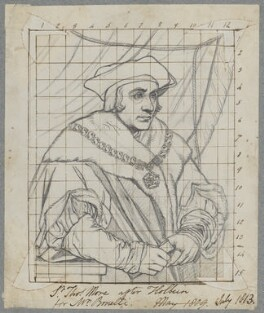 Sir Thomas More, by Henry Bone, after  Hans Holbein the Younger, July 1813 (1527) - NPG D17483 - © National Portrait Gallery, London