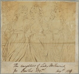 'The daughters of Lady Northwick'; Anne Rushout, Lady Harriet Cockerell (née Rushout) and Elizabeth Bowles (née Rushout), by Henry Bone, after  Andrew Plimer - NPG D17655