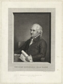 Isaac Barré, by John Hall, after  Gilbert Stuart, published 1787 (1785) - NPG D23508 - © National Portrait Gallery, London