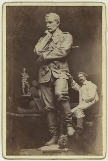 Hamo Thornycroft with his statue of Charles George Gordon, by F.W. Edwards - NPG x12593
