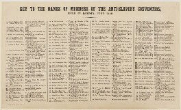 Key to The Anti-Slavery Society Convention, 1840, list of sitters in the picture by Benjamin Robert Haydon - NPG D23547