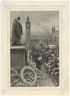 'Primrose Day' (Benjamin Disraeli, Earl of Beaconsfield), by W. Saull, published by  Harper's Bazaar - NPG D21540