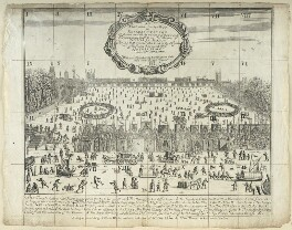 The Thames Frost Fair, 1683, probably by William Faithorne, published by  William Warter, circa 1684 - NPG D22983 - © National Portrait Gallery, London