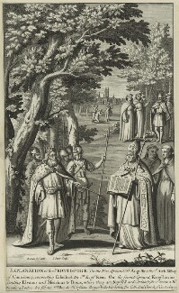Ethelbert, King of Wessex and Kent, King of Wessex and Kent; St Augustine; St Lucius; Elvanus; Medvinus; St Alban, by John Sturt, after  Bernard Lens (II) - NPG D23599