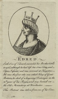 Edred, King of England, King of England, after Unknown artist, probably 18th century - NPG D23607 - © National Portrait Gallery, London