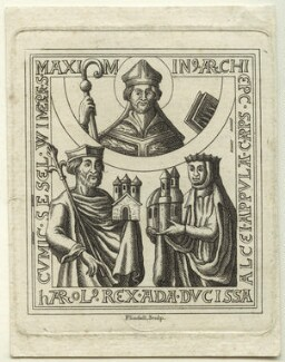 King Harold II and two unknown figures, by Flindell - NPG D23694