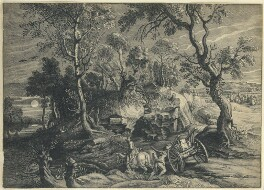 Landscape with a waggon, by William Faithorne, after  Schelte Bolswert, after  Sir Peter Paul Rubens - NPG D23010