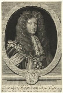Henry Somerset, 1st Duke of Beaufort, by Robert White, after  Sir Godfrey Kneller, Bt - NPG D31579