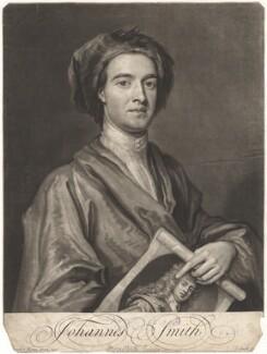 John Smith holding print by John Smith of Sir Godfrey Kneller, Bt, by John Smith, after  Sir Godfrey Kneller, Bt, 1716 (1696) - NPG D9001 - © National Portrait Gallery, London