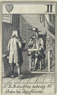 'Sr E.B. Godfree takeing Dr Oates his depositions' (Sir Edmund Berry Godfrey; Titus Oates), after Francis Barlow - NPG D23012(l)