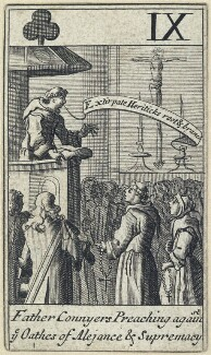 'Father Connyers Preaching against ye Oathes of Alejance & Supremacy', after Francis Barlow - NPG D23013(e)