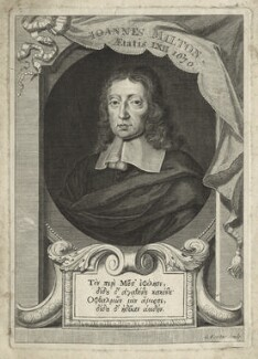 John Milton, by George Vertue, after  William Faithorne - NPG D23544