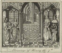Four unknown sitters engraved as 'The Marriage of King Henry VII and Elizabeth of York', by G. Barrett, after  Unknown artist - NPG D23830
