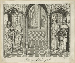 Four unknown sitters engraved as 'The Marriage of King Henry VII and Elizabeth of York', by Charles Grignion, after  Jan Gossaert (Mabuse) - NPG D23845