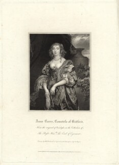 Anne Russell (née Carr), Countess of Bedford, by Henry Meyer, after  Robert William Satchwell, after  Sir Anthony van Dyck - NPG D31617