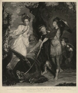The Duke of Bedford with his brothers and Miss Vernon (Henrietta Greville (née Vernon), Countess of Warwick; John Russell, 6th Duke of Bedford; Francis Russell, 5th Duke of Bedford; Lord William Russell), by Valentine Green, published by  Walter Shropshire, after  Sir Joshua Reynolds - NPG D31620
