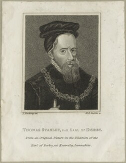 Thomas Stanley, Earl of Derby, by Henry Richard Cook, after  Silvester Harding, early 19th century - NPG D23921 - © National Portrait Gallery, London