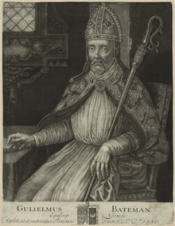 William Bateman, Bishop of Norwich, by John Faber Sr - NPG D24000