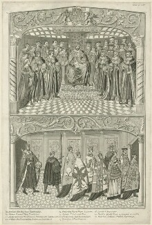 Two scenes depicting the State Opening of Parliament in the Reign of Henry VIII (fictional), by Joseph Sympson (Simpson) - NPG D24168