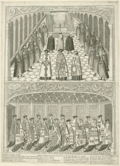 Two scenes depicting the State Opening of Parliament in the Reign of Henry VIII (fictional), by Joseph Sympson (Simpson), probably 18th century - NPG D24169 - © National Portrait Gallery, London