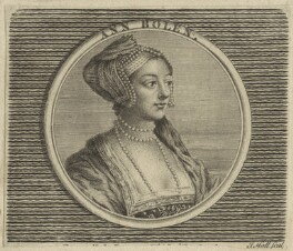 Unknown woman formerly known as Anne Boleyn, by John Hall, after  Hans Holbein the Younger - NPG D24177