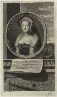 Unknown woman engraved as Catherine Howard, by Cornelis Martinus Vermeulen, after  Adriaen van der Werff - NPG D24185