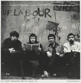 John Mayall & the Bluesbreakers (John Mayall; John McVie; Hughie Flint) and Eric Clapton, by David Wedgbury, 1966 - NPG x47357 - © National Portrait Gallery, London