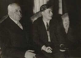 Sir Edward Elgar, Bt; Yehudi Menuhin, by Aram Alban, circa 1930 - NPG x20671 - © reserved; collection National Portrait Gallery, London