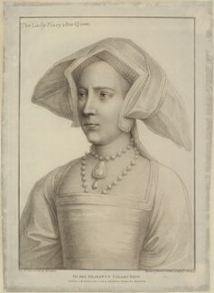 Queen Mary I when Princess Mary, by Francesco Bartolozzi, after  Hans Holbein the Younger - NPG D24878