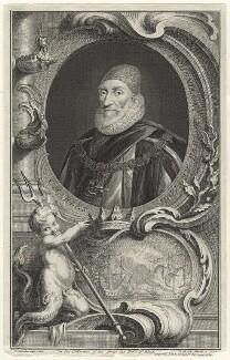 Charles Howard, 1st Earl of Nottingham, by Jacobus Houbraken, published by  John & Paul Knapton, after  Daniel Mytens - NPG D31717