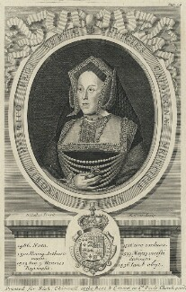 Katherine of Aragon, by Robert White, printed for  Richard Chiswell, after  Unknown artist, 1681 - NPG D24935 - © National Portrait Gallery, London