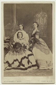 Louise, Queen of Denmark; Maria Feodorovna, Empress of Russia (Princess Dagmar); Queen Alexandra, by Southwell Brothers, October 1863 - NPG x46537 - © National Portrait Gallery, London