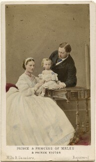 Queen Alexandra; Prince Albert Victor, Duke of Clarence and Avondale; King Edward VII, by Hills & Saunders, published by  A. Marion, Son & Co, July 1865 - NPG Ax46742 - © National Portrait Gallery, London