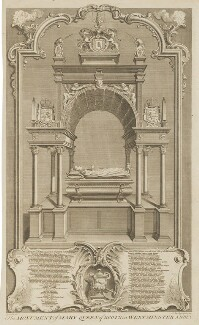 The Monument of Mary, Queen of Scots in Westminster Abbey, by Claude du Bosc, after  Hubert-François Gravelot (né Bourguignon) - NPG D31821
