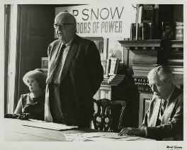 Pamela Hansford Johnson (Lady Snow); Charles Percy Snow, Baron Snow and Harold Macmillan, 1st Earl of Stockton, by Mark Gerson, circa 1964 - NPG x17971 - © Mark Gerson / National Portrait Gallery, London