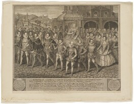 The Procession Picture of Elizabeth I, by George Vertue, probably after  Robert Peake the Elder - NPG D31831