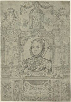 Queen Elizabeth I (Frontispage to Compendiosa totius anatomie delineatio, ære exarata / per Thomam Geminum), by Thomas Gemini, mid 16th century - NPG D25026 - © National Portrait Gallery, London