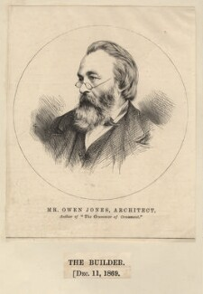 Owen Jones, published by The Builder, after an intermediary drawing by  Thomas Dewell Scott - NPG D9042