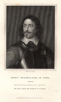 Robert Devereux, 3rd Earl of Essex, by Thomas Anthony Dean, published by  Harding & Lepard, after  Robert Walker - NPG D9045