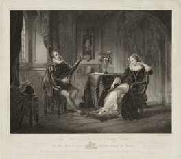 Pierre de Bocosel de Chatelard or Chastelard playing the lute to Mary, Queen of Scots, by Andrew Duncan, after  Henri Jean-Baptiste Victoire Fradelle - NPG D25070