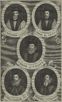 Hugh Latimer, John Jewl, Sir Nicholas Bacon, Sir Francis Walsingham, William Cecil, after Unknown artist - NPG D25216