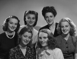 Models from Lucie Clayton College (Georgie Crawford Clifford; Grace Wood; Morna Howard; Margaret Allworthy; Jane Lynch; Valerie Cox), by Bassano Ltd - NPG x73765
