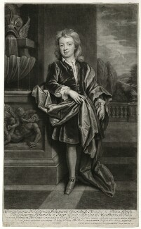 John Churchill, Marquess of Blandford, by and published by John Smith, after  Sir Godfrey Kneller, Bt, 1708 (circa 1695) - NPG D31876 - © National Portrait Gallery, London