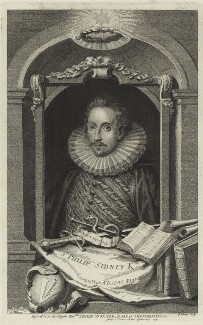 Sir Philip Sidney, by George Vertue, after  Isaac Oliver - NPG D25392