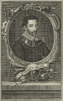 Sir Francis Drake, by Johan Wierix, after  Jean Rabel, possibly early 17th century - NPG D25403 - © National Portrait Gallery, London