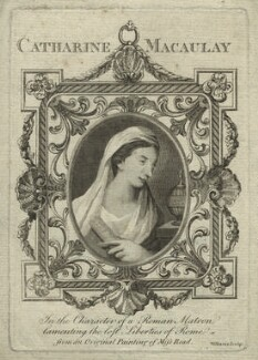 Catharine Macaulay (née Sawbridge) in the character of a Roman matron lamenting the lost liberties of Rome, by Williams, after  Katharine Read, 1770 - NPG D31911 - © National Portrait Gallery, London