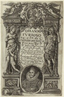 Sir John Harington in the title page to his translation of Ariosto's 'Orlando Furioso', after Unknown artist - NPG D25494